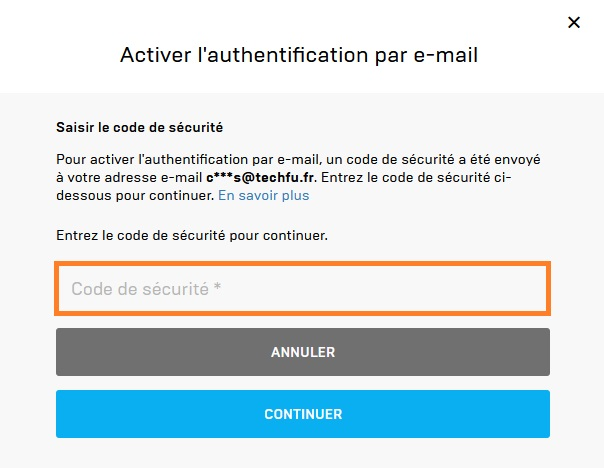 Fortnite : activation authentification par email